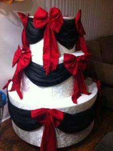 Houston-Texas-wrapped-Black-Red-ribboned-custom-popout-cake-67